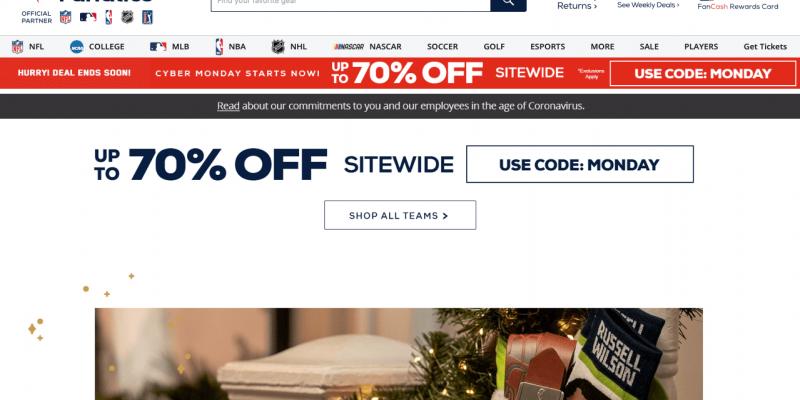Fanatics Cyber Monday 2021 Deals & Sale – 70% OFF